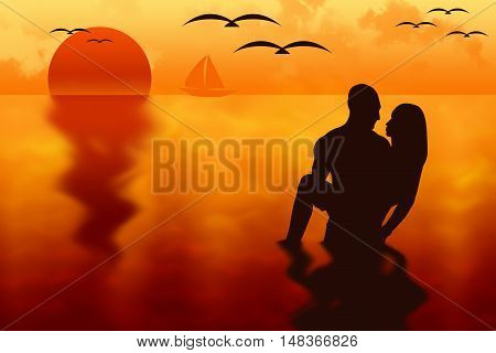 Backlight silhouette of a couple in love at sunset into the sea with a sail boat and seagulls on background. 3D illustration.
