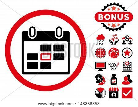 Calendar Day icon with bonus elements. Vector illustration style is flat iconic bicolor symbols intensive red and black colors white background.