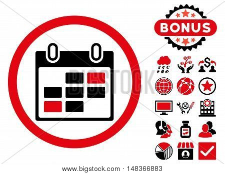 Calendar Days icon with bonus images. Vector illustration style is flat iconic bicolor symbols intensive red and black colors white background.