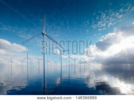 Offshore wind power plants at calm afternoon. 3d rendering.