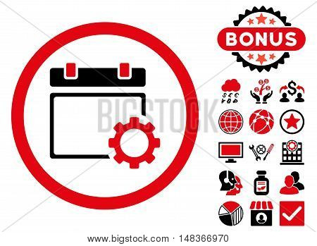 Calendar Options icon with bonus symbols. Vector illustration style is flat iconic bicolor symbols intensive red and black colors white background.