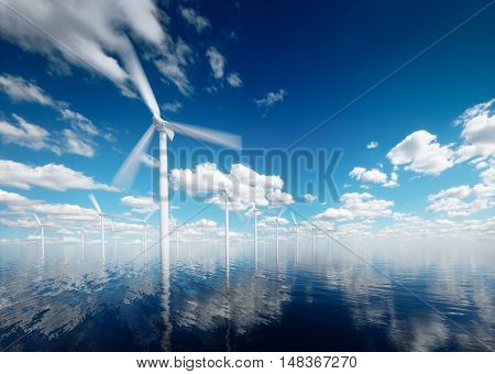 Offshore wind power plants with calm afternoon partly cloudy sky in background. 3d rendering.