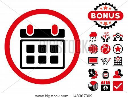 Calendar icon with bonus pictures. Vector illustration style is flat iconic bicolor symbols, intensive red and black colors, white background.