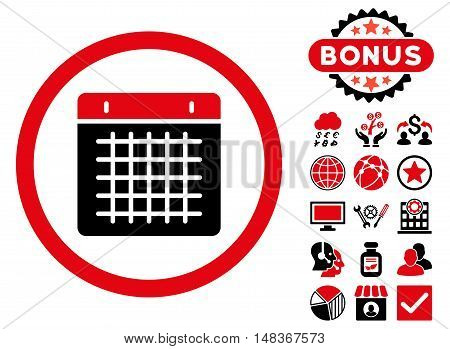 Calendar icon with bonus design elements. Vector illustration style is flat iconic bicolor symbols, intensive red and black colors, white background.