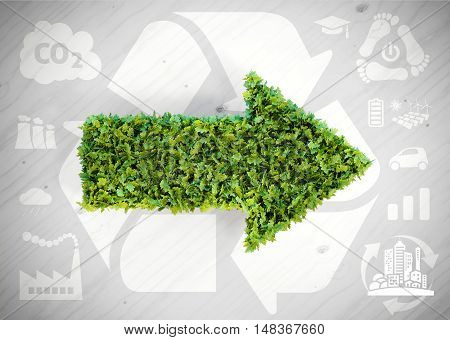 Ecology green arrow - 3d illustration with ecology icons on grey wooden background.
