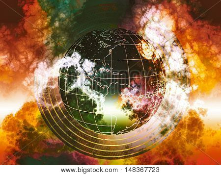 abstract planet, world exploding in toxical gases,