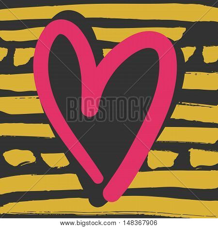 Decorative modern card. Typography poster with black and pink heart shape on yellow striped background. Stylish colorful design element for wedding, valentines day, save the date or romantic design