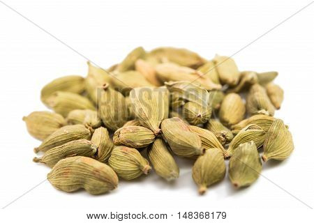 cardamom pods exotic aromatic isolated on white