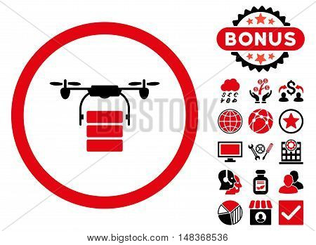 Cargo Drone icon with bonus pictures. Vector illustration style is flat iconic bicolor symbols, intensive red and black colors, white background.