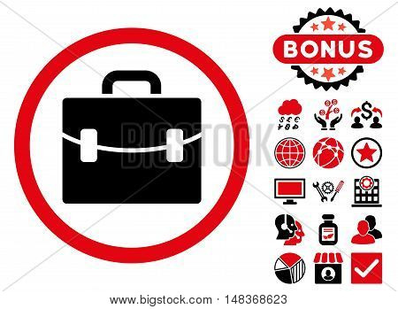Case icon with bonus images. Vector illustration style is flat iconic bicolor symbols, intensive red and black colors, white background.