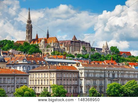 View to Fishermans Bastion castle and tower in Budapest city. Hungary