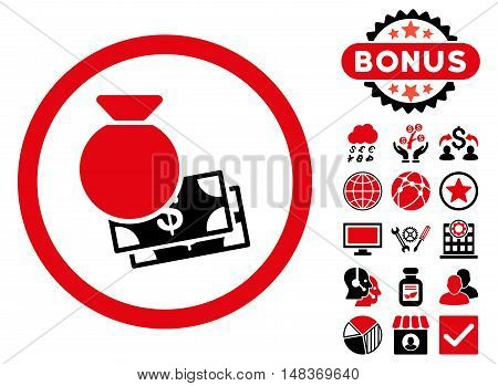 Cash Money icon with bonus pictures. Vector illustration style is flat iconic bicolor symbols, intensive red and black colors, white background.