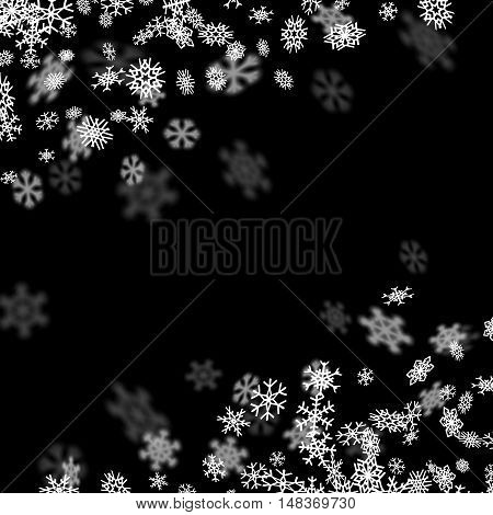 Snowfall background with snowflakes blurred in perspective