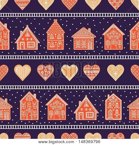 Gingerbread houses and hearts. Seamless pattern with cookie house and heart. Hand drawn doodle christmas background.