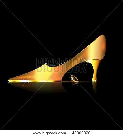 dark background and the ladys golden shoe with yellow crystal