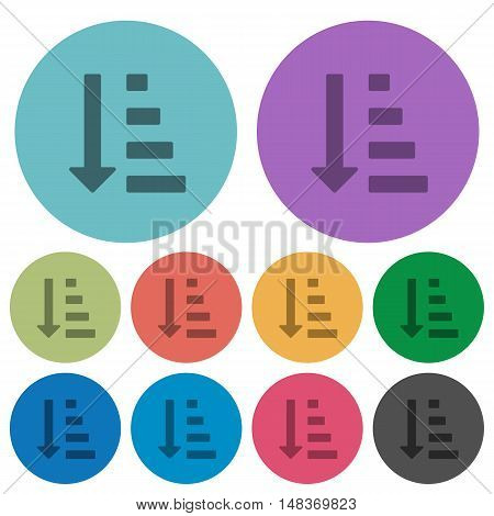 Color ascending ordered list flat icon set on round background.