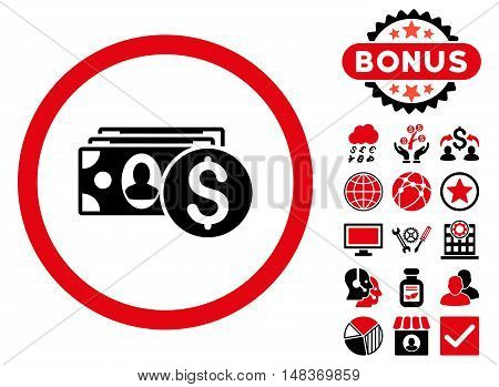 Cash icon with bonus images. Vector illustration style is flat iconic bicolor symbols, intensive red and black colors, white background.