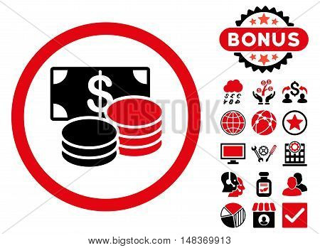 Cash icon with bonus pictogram. Vector illustration style is flat iconic bicolor symbols, intensive red and black colors, white background.