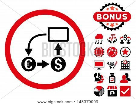 Cashflow Euro Exchange icon with bonus images. Vector illustration style is flat iconic bicolor symbols intensive red and black colors white background.