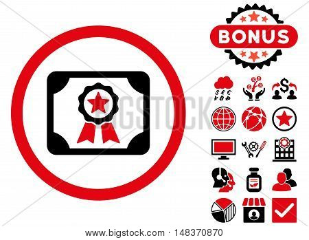 Certificate icon with bonus pictogram. Vector illustration style is flat iconic bicolor symbols intensive red and black colors white background.