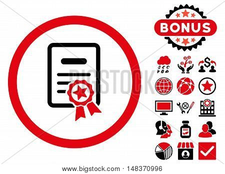 Certified Diploma icon with bonus pictogram. Vector illustration style is flat iconic bicolor symbols intensive red and black colors white background.
