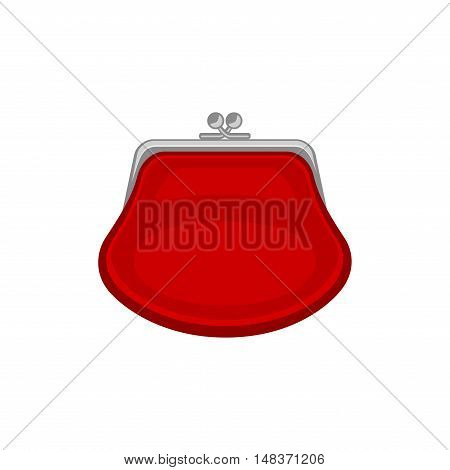 Red purse. Vector icon isoated on a white background. Vector illustration.