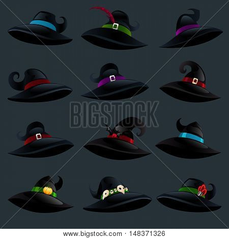 Witch hats isolated on a dark background. Set of witch hats in cartoon style for Halloween. Vector illustration.