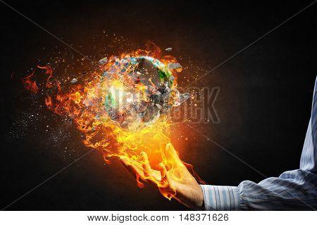 Global catastrophe concept . Mixed media