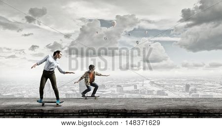 Teenagers ride skateboards . Mixed media