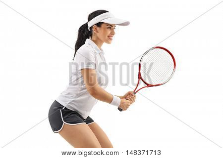 Female tennis player waiting for a service isolated on white background