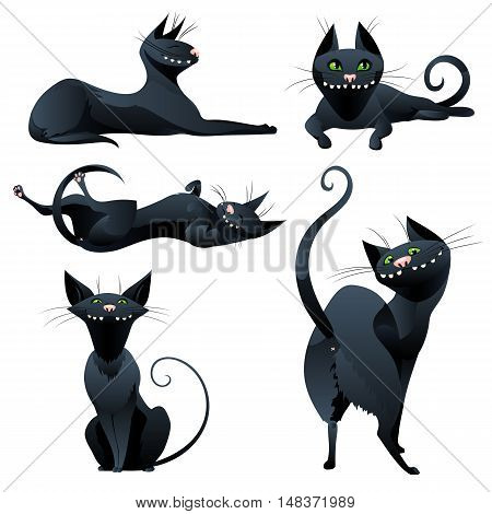 Cute black cats in cartoon style. Set of funny cats isolated on white background. Vector illustration.