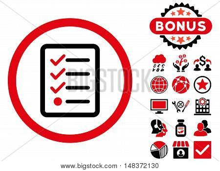 Checklist icon with bonus design elements. Vector illustration style is flat iconic bicolor symbols, intensive red and black colors, white background.