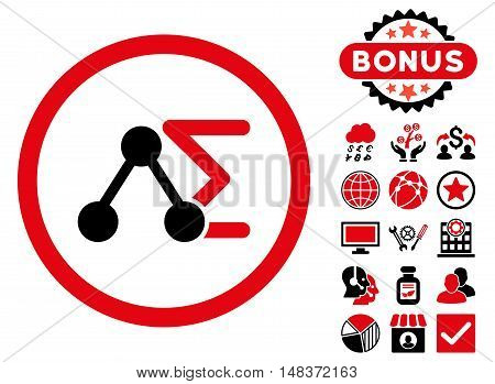 Chemical Formula icon with bonus images. Vector illustration style is flat iconic bicolor symbols, intensive red and black colors, white background.