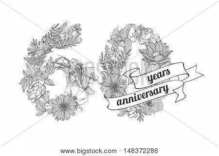 sixty (60) years anniversary sign of floral linear digits