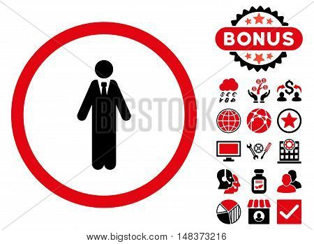 Clerk icon with bonus design elements. Vector illustration style is flat iconic bicolor symbols, intensive red and black colors, white background.