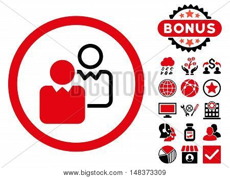 Clients icon with bonus pictures. Vector illustration style is flat iconic bicolor symbols, intensive red and black colors, white background.