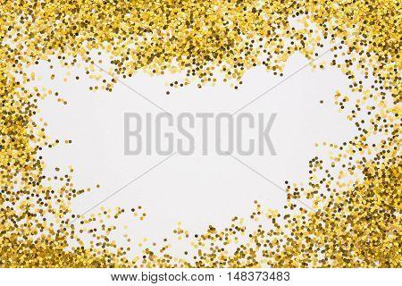 Gold border. Sequins. Golden shine. Powder. Glitter. Shining background