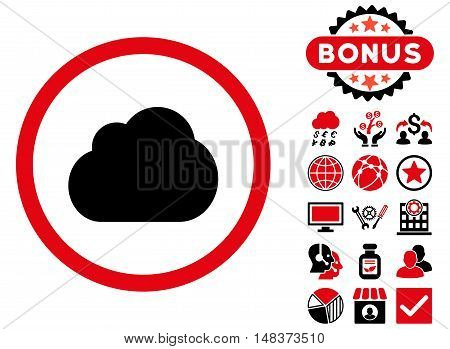Cloud icon with bonus design elements. Vector illustration style is flat iconic bicolor symbols, intensive red and black colors, white background.