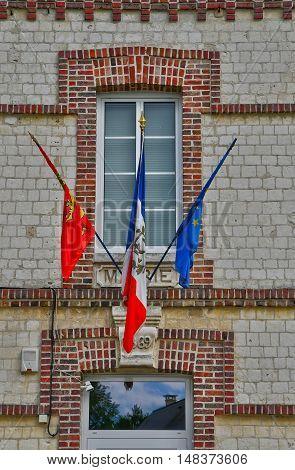Saint Wandrille Rancon France - june 22 2016 : the city hall