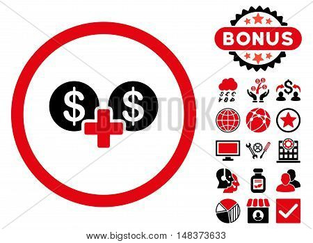 Coins Sum icon with bonus elements. Vector illustration style is flat iconic bicolor symbols, intensive red and black colors, white background.