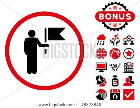 Commander icon with bonus elements. Vector illustration style is flat iconic bicolor symbols, intensive red and black colors, white background.