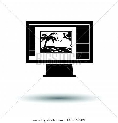Icon Of Photo Editor On Monitor Screen