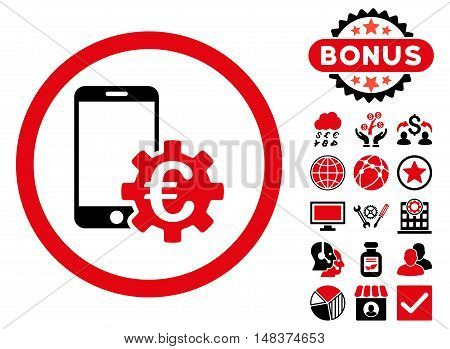 Configure Mobile Euro Bank icon with bonus pictogram. Vector illustration style is flat iconic bicolor symbols intensive red and black colors white background.