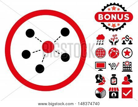 Connections icon with bonus elements. Vector illustration style is flat iconic bicolor symbols intensive red and black colors white background.