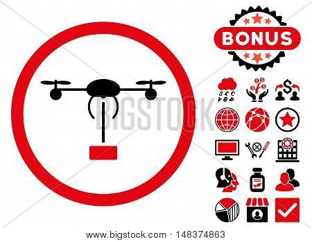 Copter Shipment icon with bonus symbols. Vector illustration style is flat iconic bicolor symbols intensive red and black colors white background.