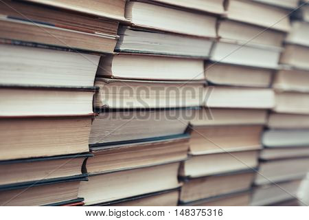 Rows and columns of numerous book. Horizontal photo