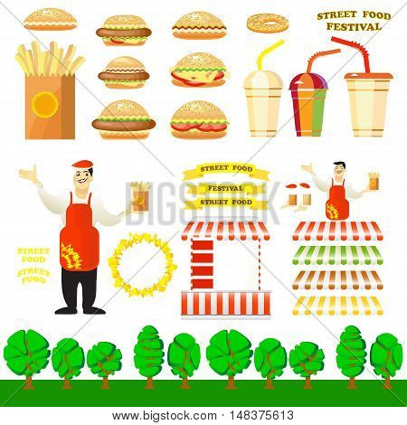 Set of fast food objects for your design. Vector design elements for a Street Food Festival. Vector illustration of burger street cart with seller, hamburger, potato fries, hot dog, drink.