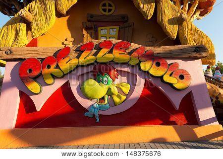 CASTELNUOVO DEL GARDA VERONA ITALY - AUGUST 28 2016: The tree house of Prezzemolo (Parsley) the mascot of the theme park of Gardaland in Castelnuovo del Garda Verona Italy