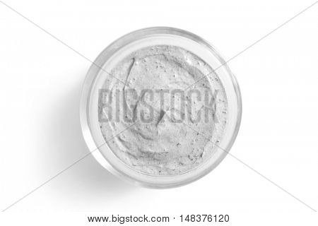 Cosmetic cream in jar, top view