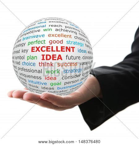 Excellent idea concept. Hand take white ball with wordcloud and Excellent idea words in red color.